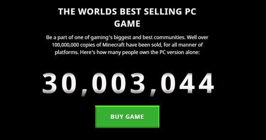 我的世界PC版销量超3000万 全平